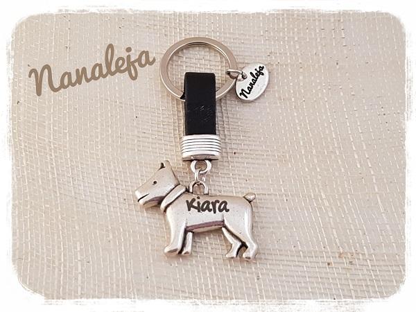 Llavero perrito con nombre grabado